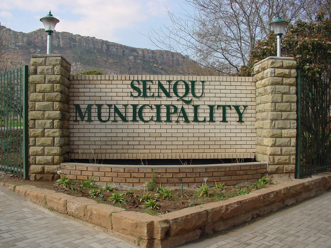 Garden wall with the name of Senqu Municipality